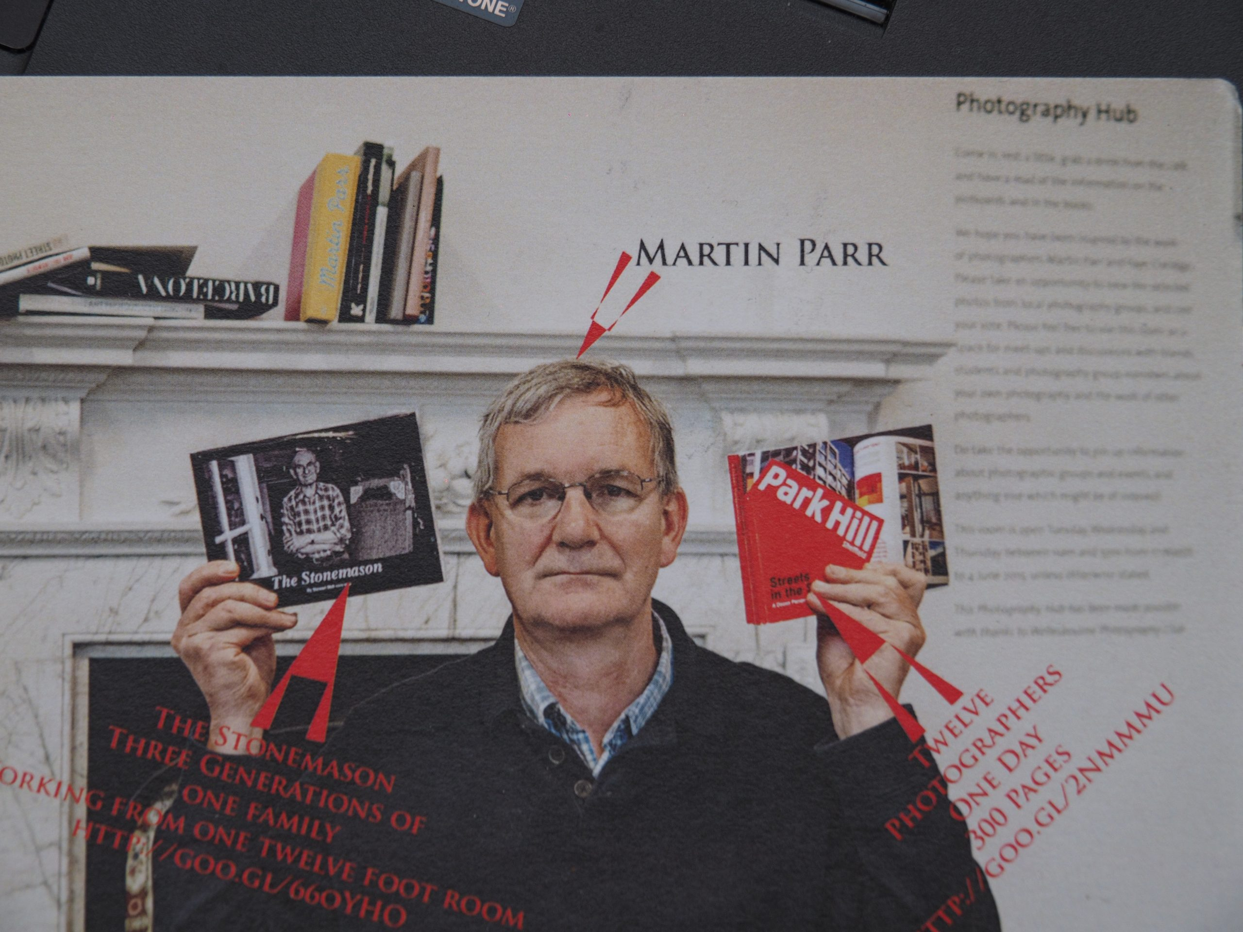 Martin Parr with two of Artona designed Photobooks